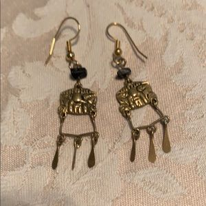Earrings, brass dangles with decorative stone.